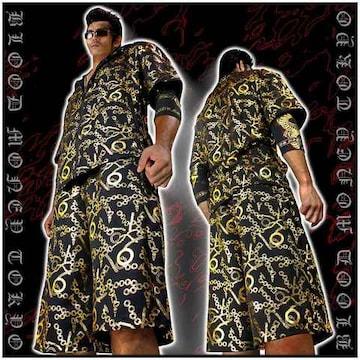送料無料ヤクザオラオラ系半袖セットアップジャージ上下服/チェーン/13017黒-金-XL