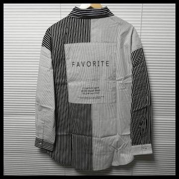 ストライプ柄クレイジー切替ロゴビッグシャツ/BLK×WH/L