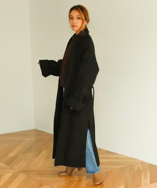 マキシガウンチェスターコートM/ブラック < 女性ファッションの