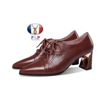 艶消しラムレザーレースアップシューズパンプス子牛革靴全2色