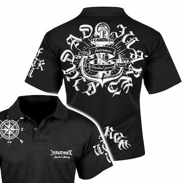 送料無料 メンズ オラオラ ギャング バイカー ヤクザ 半袖 ポロシャツ 黒 白 XL