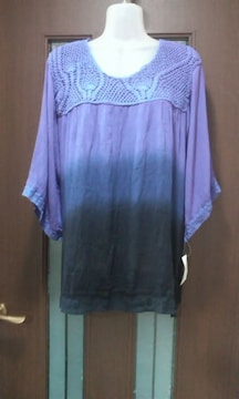 新品4L★しまむら★大きいサイズ/レーヨンチュニック/紫グラデ