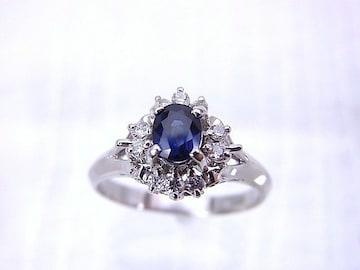 【即買】Pt900  深い青色 カラーストーン ダイヤモンドリング 15号 r-452★dot