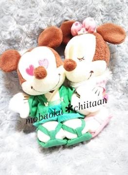 【グリーン色袴ミッキー*ピンク着物ミニー】