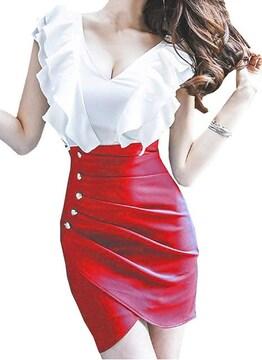 小悪魔 カシュクール ミニワンピース (L寸・赤)