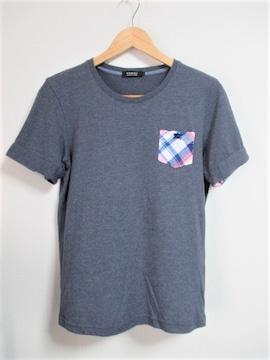 ☆バーバリーブラックレーベル ホース刺繍 チェック柄ポケット Tシャツ/メンズ/2