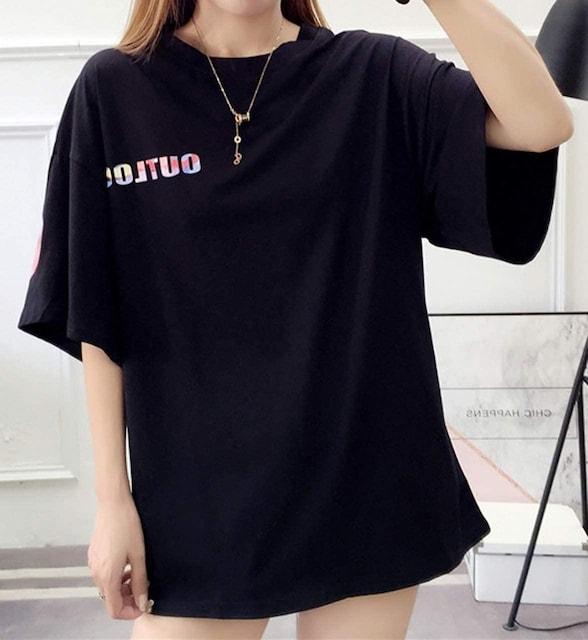 超人気2290円★ベストセラー  半袖 ゆったり ロン T  黒L < 女性ファッションの