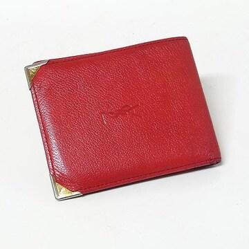 【イヴ・サンローラン】コインポケット付き折り財布 レット