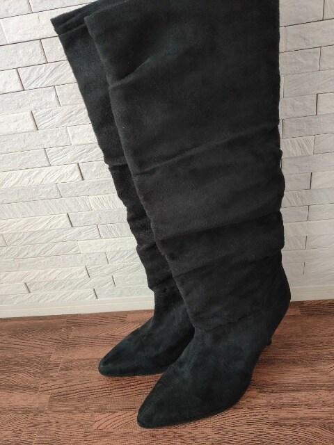 即決/Jerry Girl/ハイヒール/スエードロングブーツ/黒/24.0 < 女性ファッションの