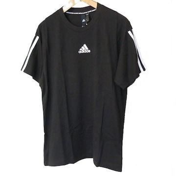 新品O (XL)◆アディダスadidas 黒袖3stTシャツ