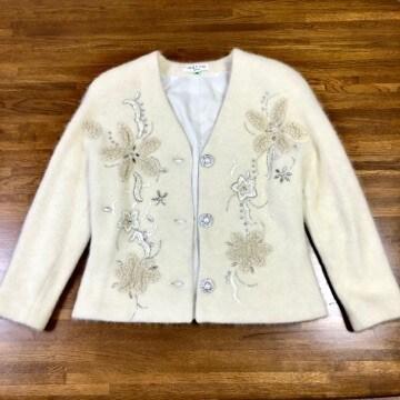 美品 レナウン marsa マーサ 刺繍×ビジュー ウールシルク混 ジャケット 9号 オフホワイト