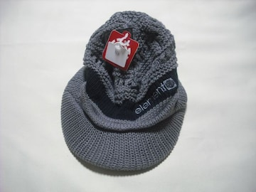 mb316 男 ELEMENT エレメント つば付き ニット帽 ビーニー 灰