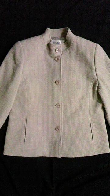 ウールシルクツイードスタンドカラージャケット&膝丈タイトスカート〓スーツセットアップ〓定価8万 < 女性ファッションの