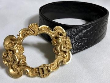 正規美 限定 ドルチェ&ガッバーナ エンジェルバックルクロコ調ベルト 黒×ゴールド 85