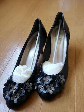 ☆新品☆Marie  femme☆黒お花パンプス☆23�p