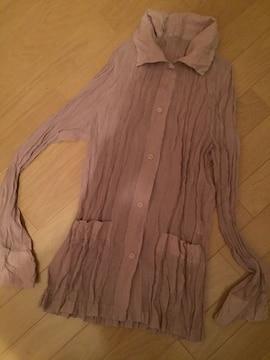 お洒落 くしゅくしゅジャケットブラウス モカベージュ 羽織