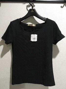 新品タグ付キャメロンレイシー半袖無地Tシャツ黒ブラック