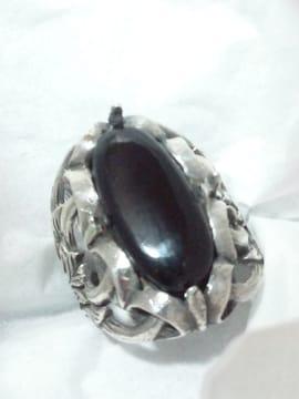 925 SILVER ブラック ストーン 彫刻 リング 13号