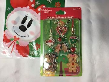 TDRディズニーリゾート限定ミッキーミニークリスマスジンジャーマンペアストラップ