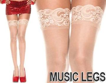 A520)MusicLegsシリコン付きレーストップサイハイストッキングベージュタイツダンス衣装