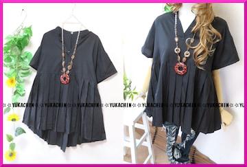 新作◆大きいサイズ3Lブラック◆プリーツ切り替え◆シャツチュニック