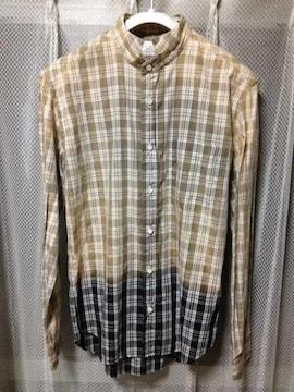 マニュアルアルファベット チェック柄 ドレス長袖シャツ Mサイズ2 ベージュ茶×黒 日本製