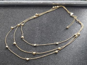 新品 J.CREW 可愛い金色プチハート3連ネックレス