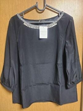 アンタイトル昨季新品黒ビジューシフォンブラウスシャツ大きいサイズ411号12号13号