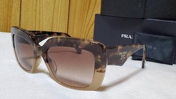 正規レア プラダ エンブレムロゴ マーブルカラーサングラス 鼈甲系 茶×黒 ワイドフレーム
