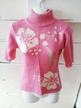 ピンク白ハイビスカスフラワーハイネックニットセーター半袖