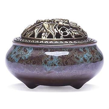 4カラー/ブルー 丸香炉 香炉灰 陶器 陶磁器 青磁 お香 倒流香