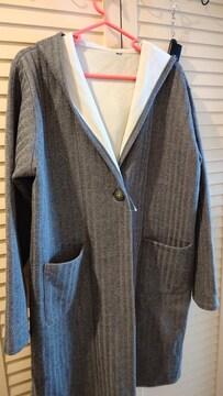 未使用☆フード付きコート☆ロングカーデ☆羽織り 濃いグレー