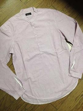 美品ZARA MEN ノーカラーストライプシャツ ザラ