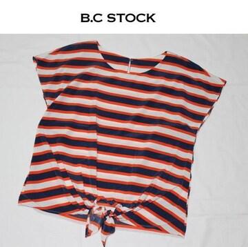B.C. STOCK*simplicite★ボーダー 前縛りブラウス/新品アカ