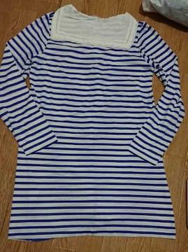 Pou Dou Dou☆美品セーラー襟チュニックTシャツ☆白×青