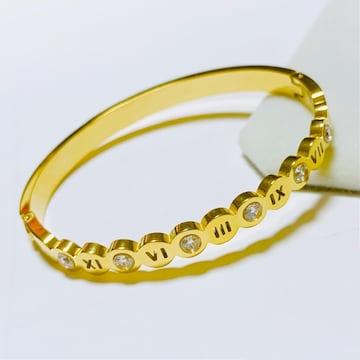 18KGPゴールド キュービックジルコニアローマ数字ブレスレット