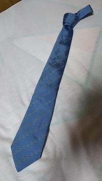 正規良 ロエベLoewe ストライプスクエアチェーン シルク100%ネクタイ水色 ナロータイ