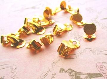 10�o平皿クリップイヤリング20個ゴールド