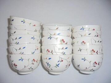 美濃焼雅山窯茶碗湯呑花金彩金縁16点セット長期保管品新品未使用