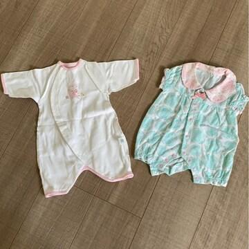 新生児〜女の子ベビ2点まとめ売り50〜60