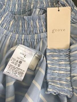 新品タグ付☆grove襟袖口シャーリングストライプシャツ