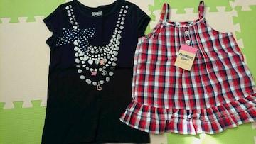 120女の子オシュコシュ新品チュニック&リボンTシャツ
