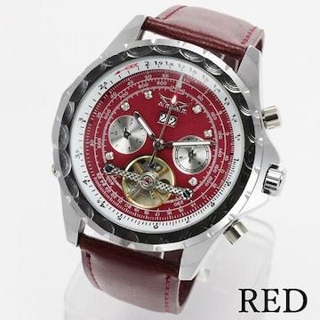 トリプルカレンダー テンプスケルトン 回転ベゼル 機械式腕時計