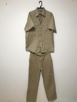 ブラウン 作業着 シャツ 上下セット アップ ズボン パンツ