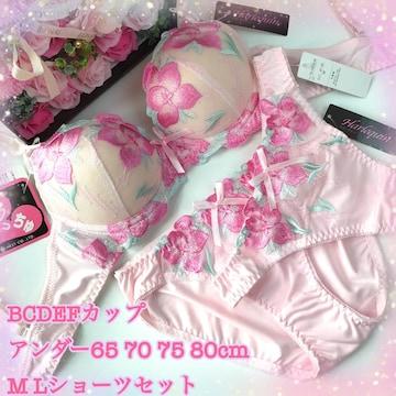 男性様も! D70M 花刺繍ピンク ブラ&ショーツ&Tバック