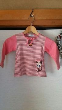 CONTE DE FEES ピンクボーダ−fed Fill Cat ねこ長袖Tシャツ95