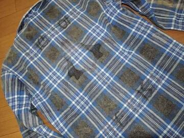 BACKBONEバックボーン背ロゴチェックシャツ青M古着加工