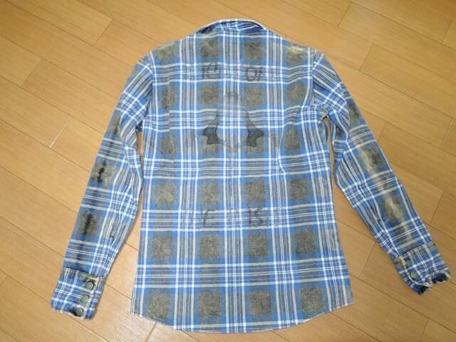 BACKBONEバックボーン背ロゴチェックシャツ青M古着加工 < ブランドの