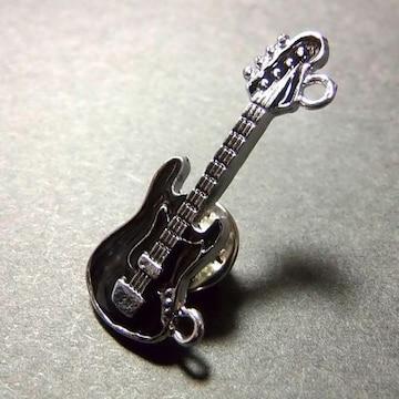 送料無料 エレキギター ベース ラペルピン ピンバッジ ブローチ 黒色