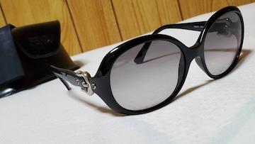 正規 フェンディ ベルトバックル装飾 ラウンドサングラス黒 クロームメタリック エンブレムロゴ